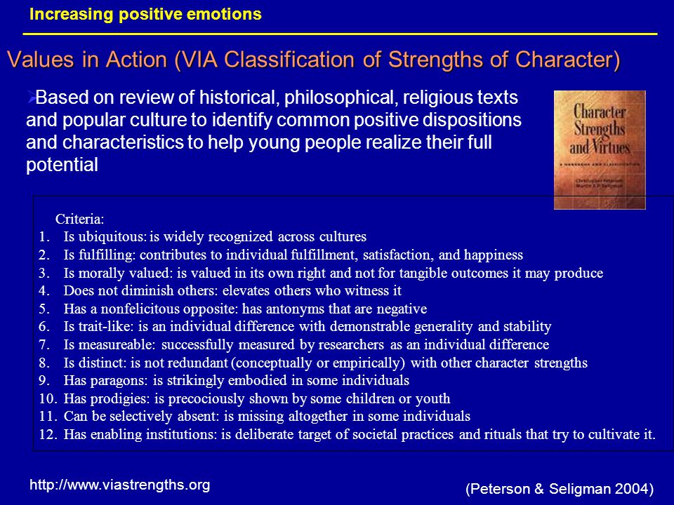 Values in Action (VIA Classification of Strengths of Character)