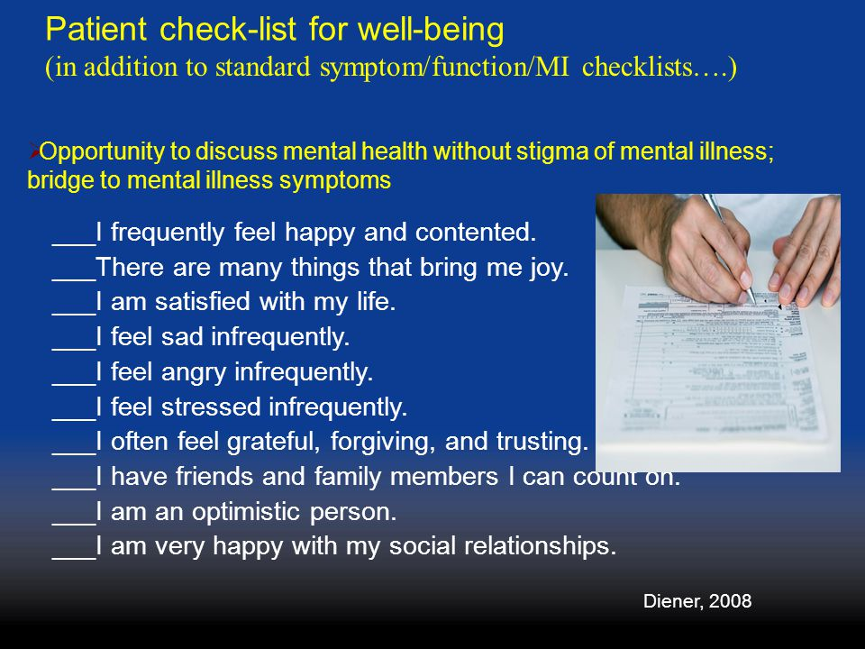 Patient check-list for well-being