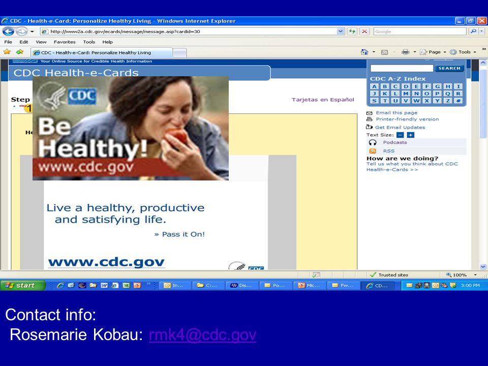 Contact info: Rosemarie Kobau: rmk4@cdc.gov
