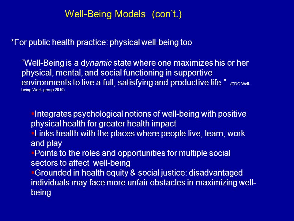 Well-Being Models (con't.)