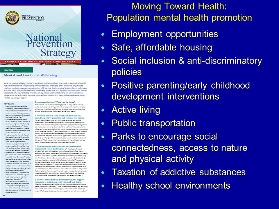 Moving Toward Health: Population mental health promotion