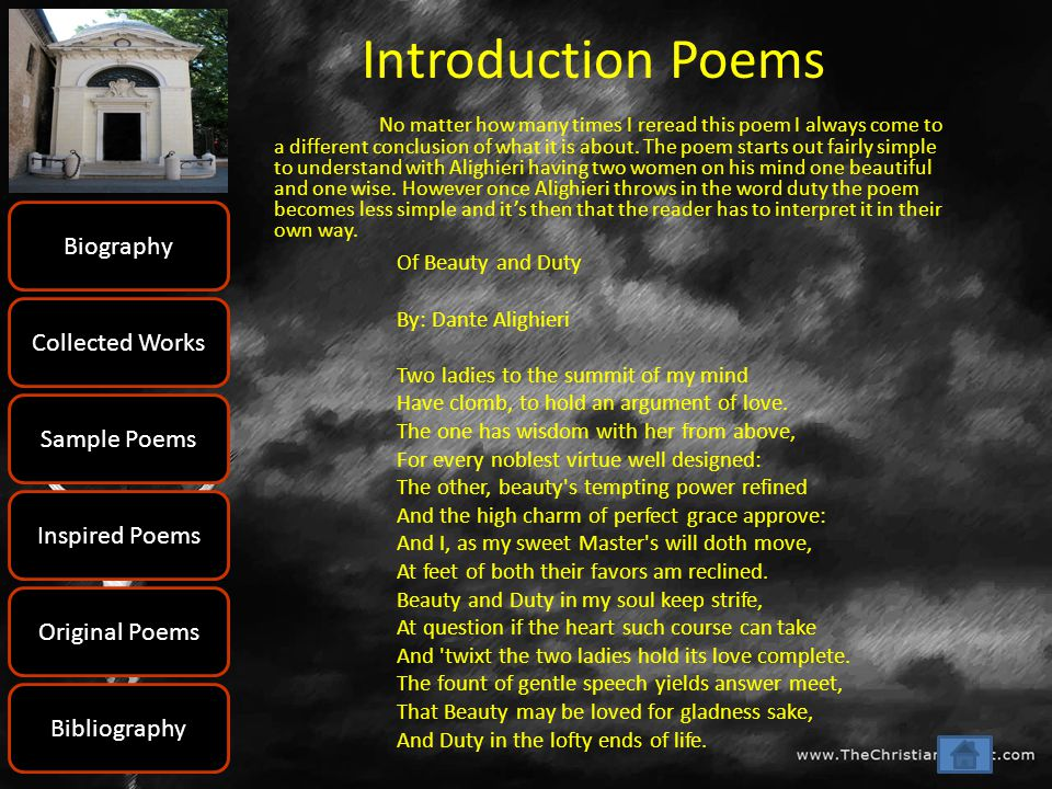 Introduction Poems Biography Collected Works Sample Poems
