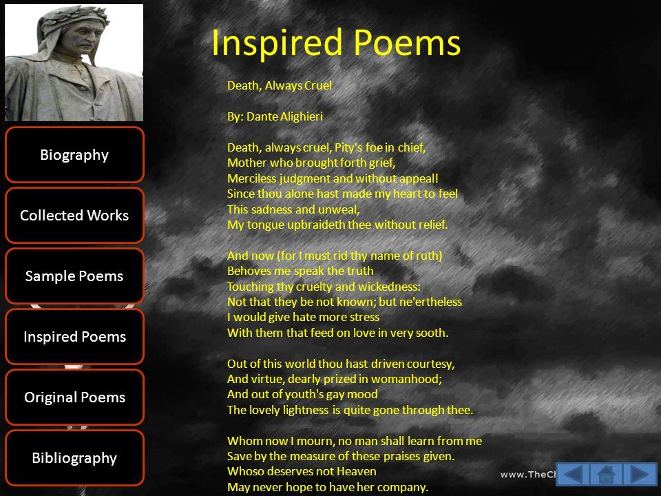 Inspired Poems Biography Collected Works Sample Poems Inspired Poems