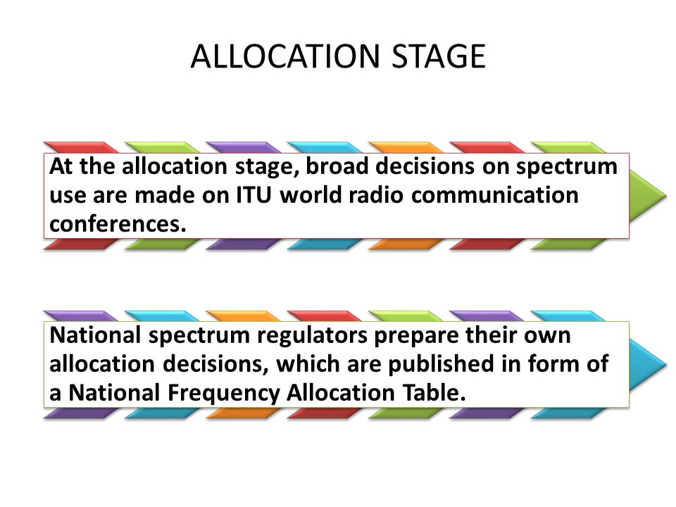 At the allocation stage, broad decisions on spectrum use are made on ITU world radio communication conferences.