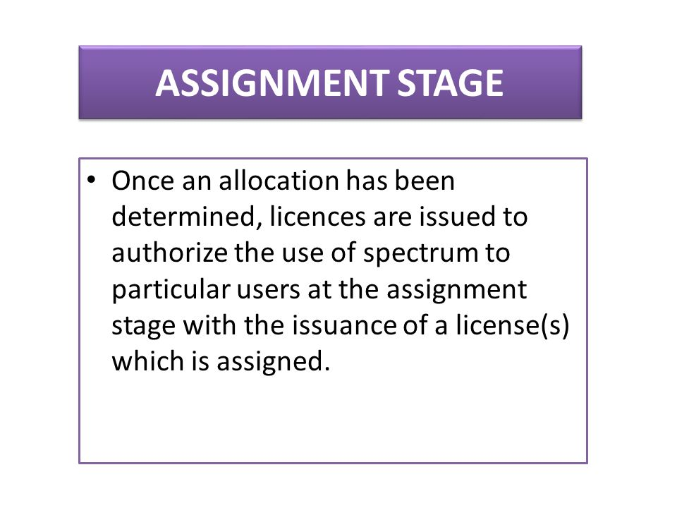 ASSIGNMENT STAGE