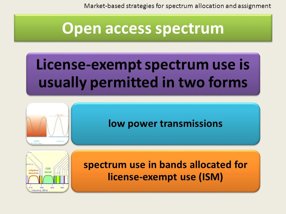 Market-based strategies for spectrum allocation and assignment