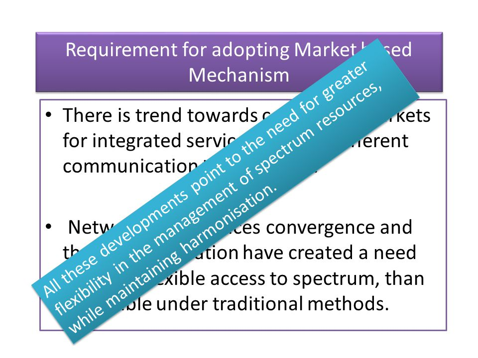 Requirement for adopting Market based Mechanism