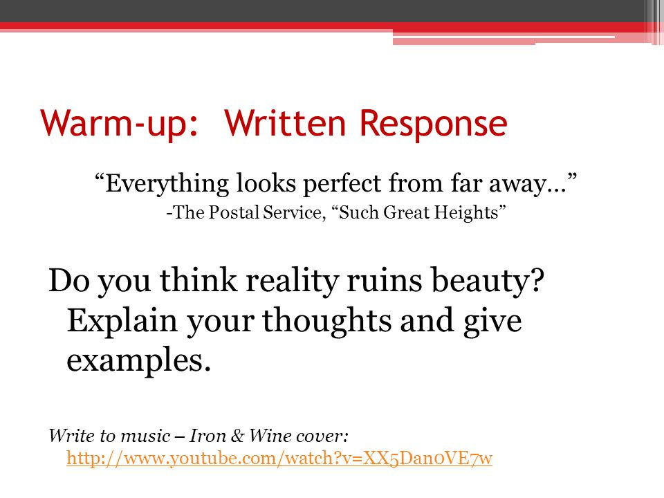 Warm-up: Written Response