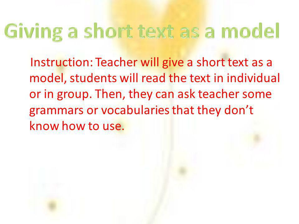 Giving a short text as a model