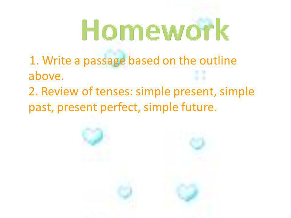 Homework 1. Write a passage based on the outline above.