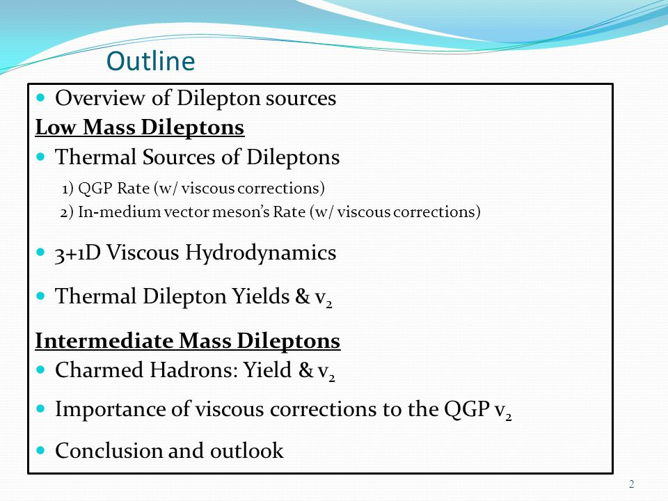 Outline Overview of Dilepton sources Low Mass Dileptons