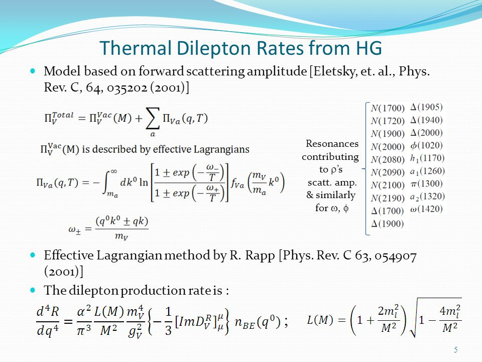 Thermal Dilepton Rates from HG