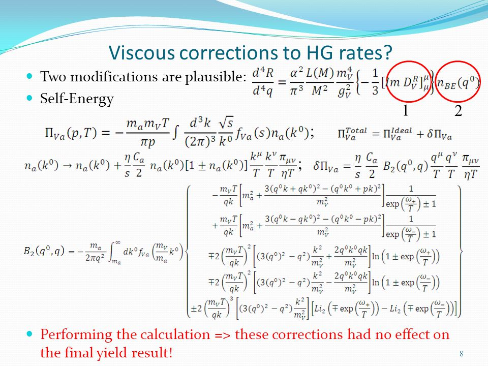 Viscous corrections to HG rates