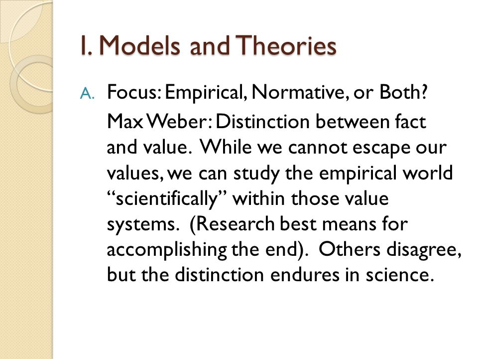 I. Models and Theories Focus: Empirical, Normative, or Both