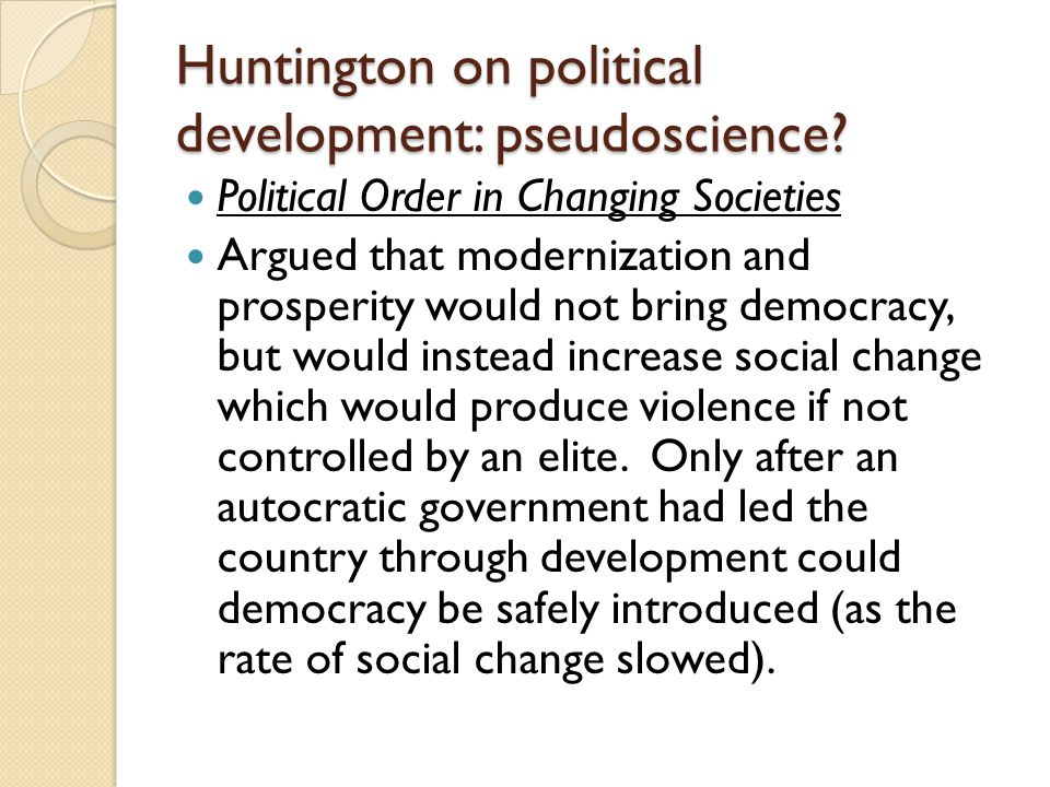Huntington on political development: pseudoscience