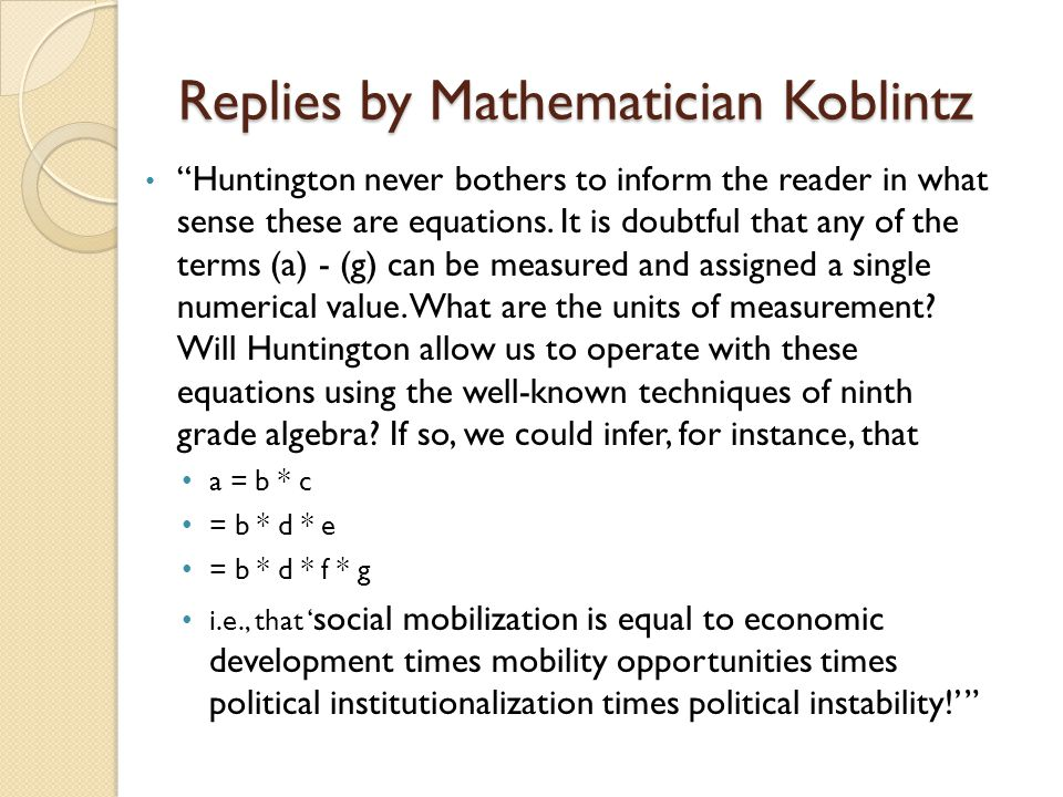 Replies by Mathematician Koblintz