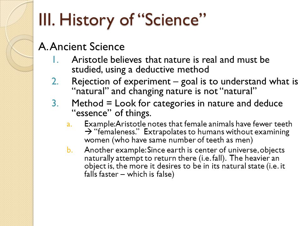 III. History of Science