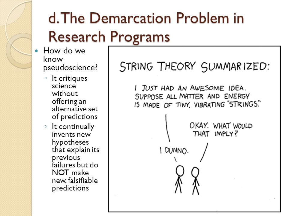 d. The Demarcation Problem in Research Programs