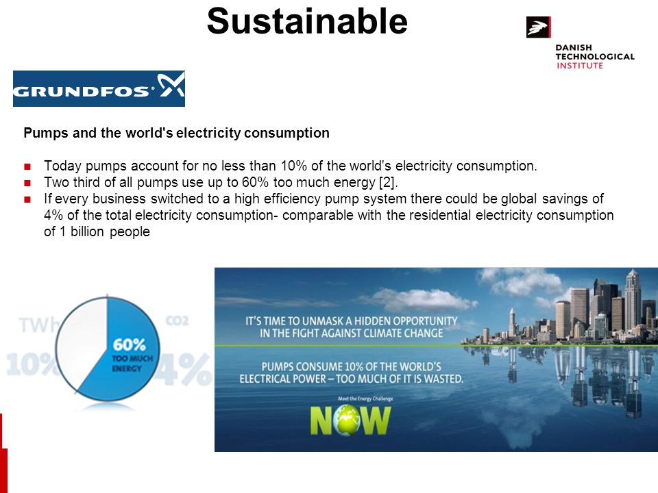 Sustainable Pumps and the world s electricity consumption