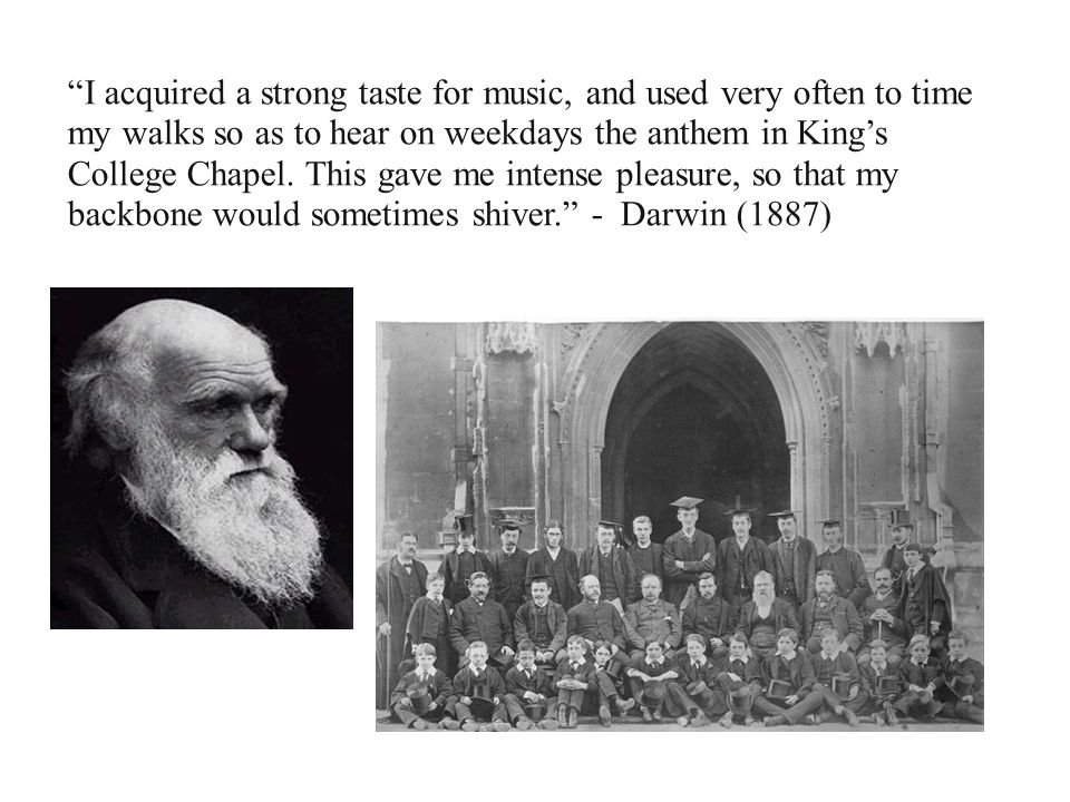 I acquired a strong taste for music, and used very often to time my walks so as to hear on weekdays the anthem in King's College Chapel.