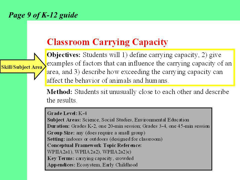 Page 9 of K-12 guide Skill/Subject Area