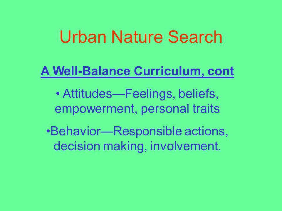 A Well-Balance Curriculum, cont