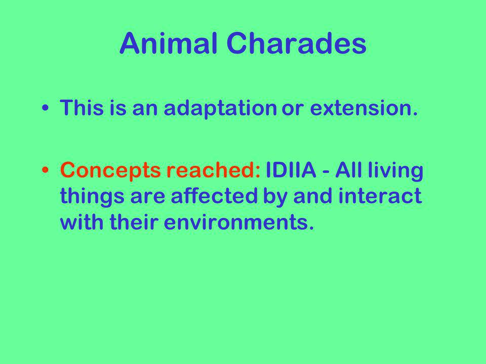 Animal Charades This is an adaptation or extension.