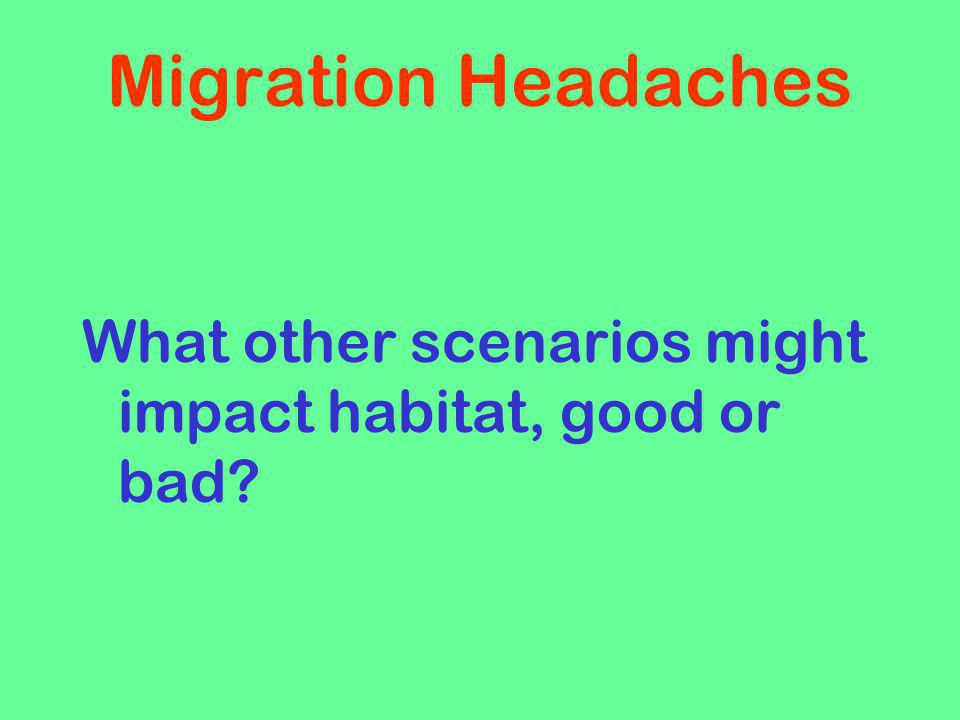 Migration Headaches What other scenarios might impact habitat, good or bad