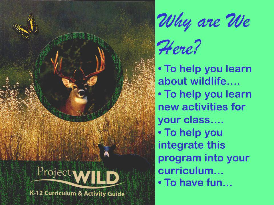 Why are We Here To help you learn about wildlife….