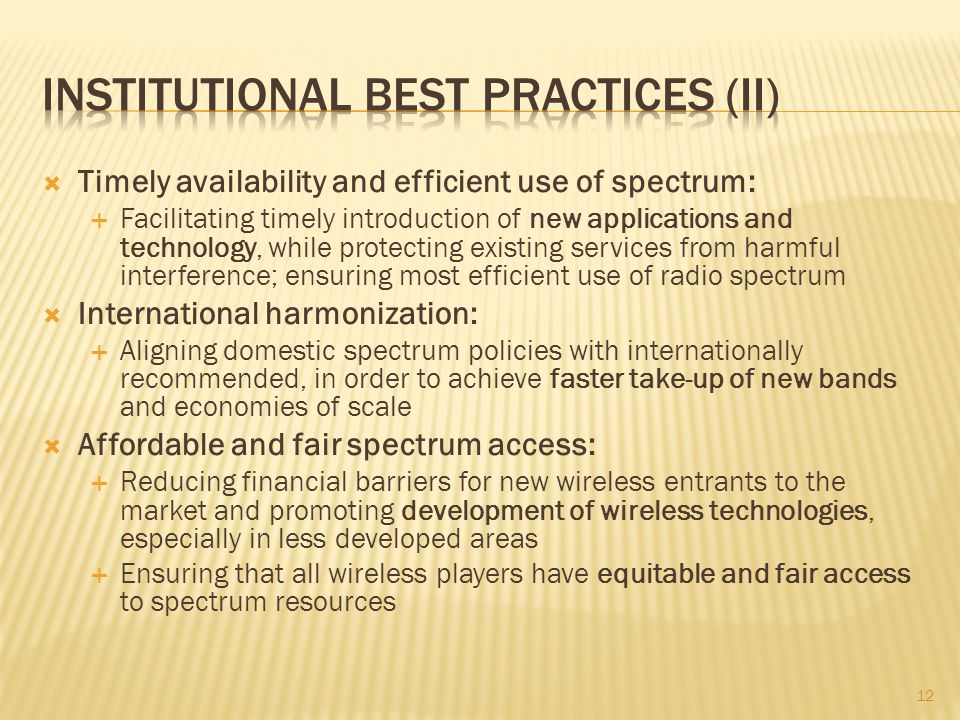 Institutional best practices (II)