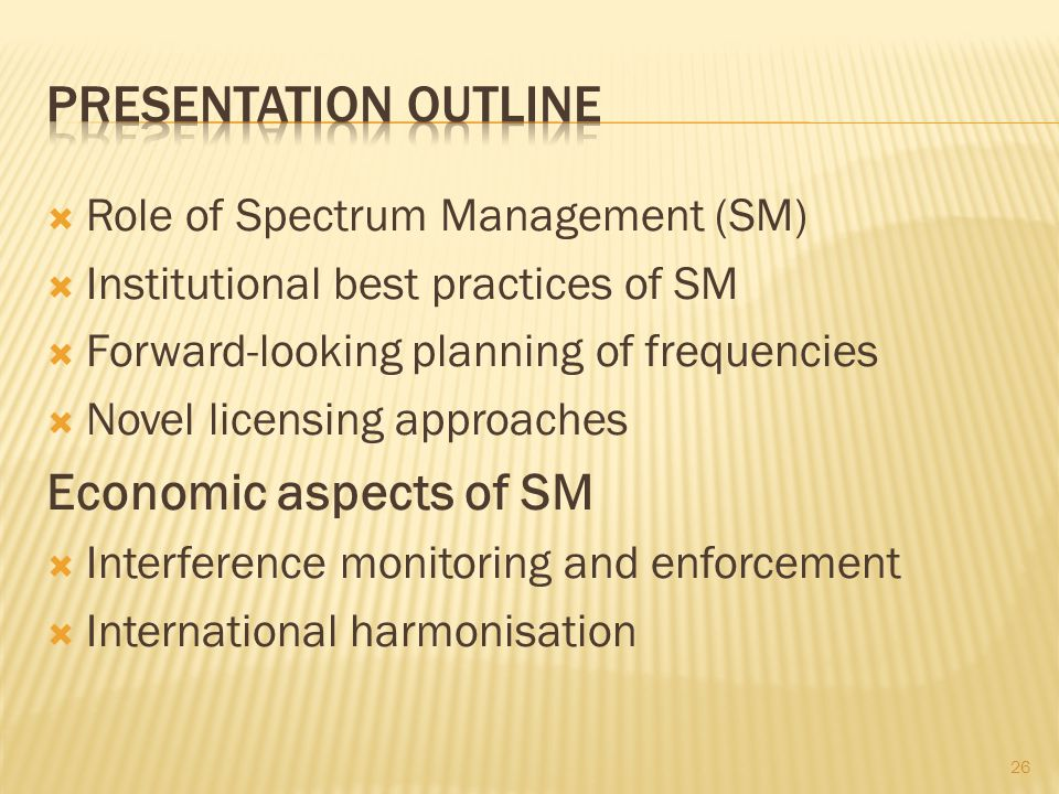 Presentation outline Economic aspects of SM
