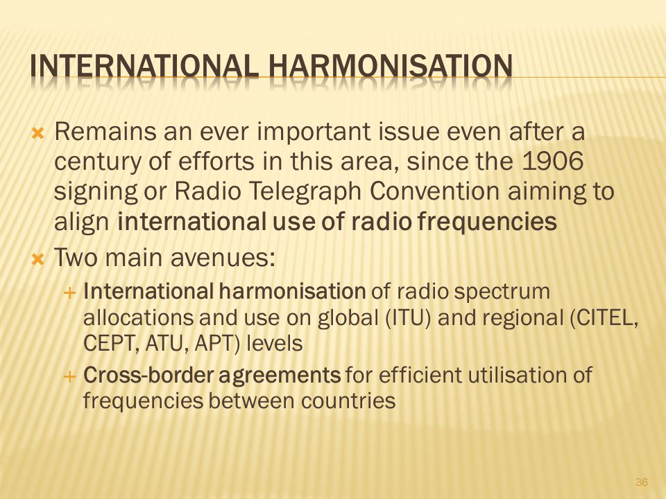 International harmonisation