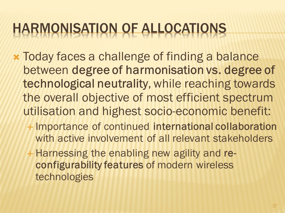Harmonisation of allocations