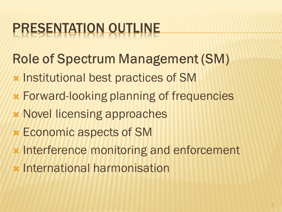 Role of Spectrum Management (SM)