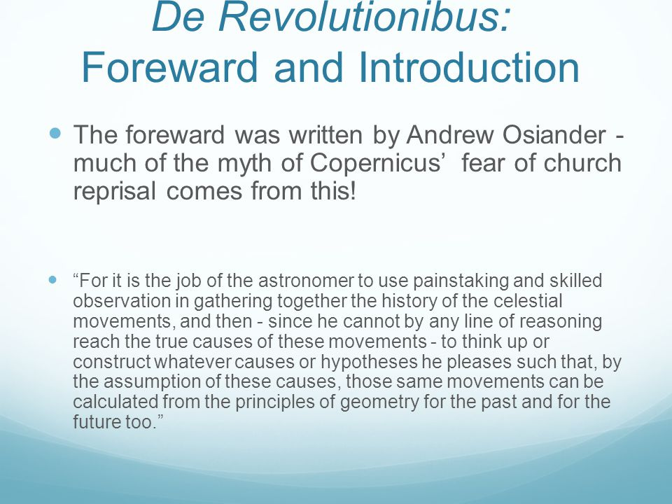 De Revolutionibus: Foreward and Introduction