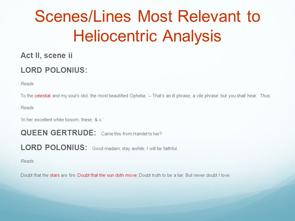 Scenes/Lines Most Relevant to Heliocentric Analysis