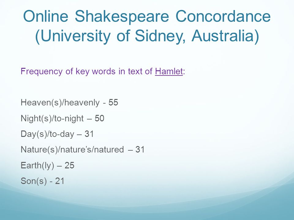 Online Shakespeare Concordance (University of Sidney, Australia)