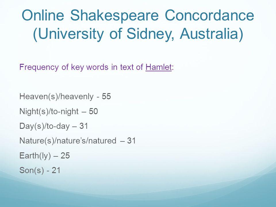 Online Shakespeare Concordance (University of Sidney, Australia)