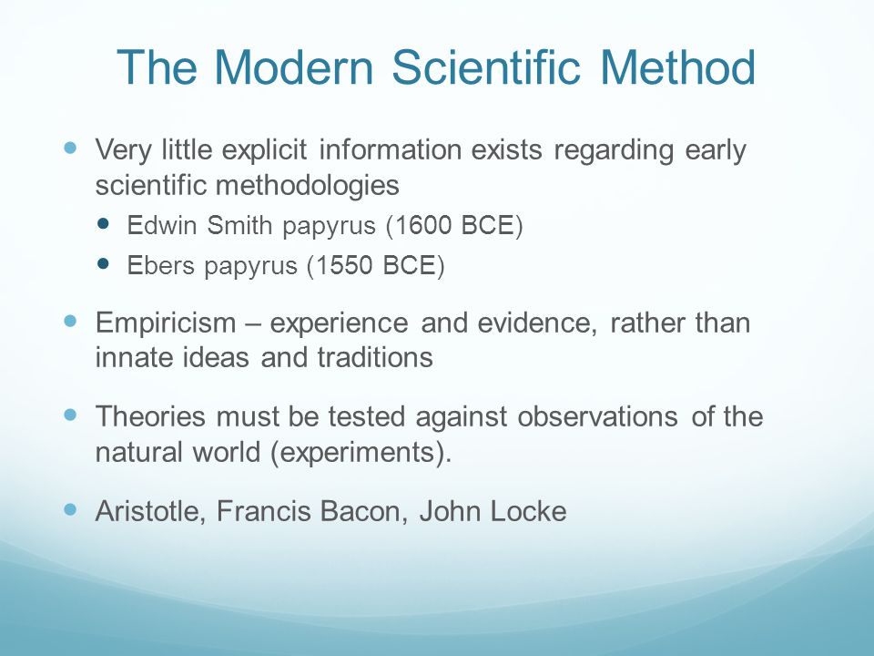 The Modern Scientific Method