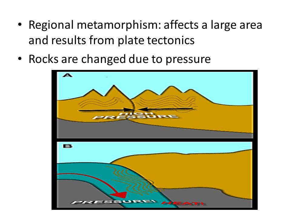 Regional metamorphism: affects a large area and results from plate tectonics