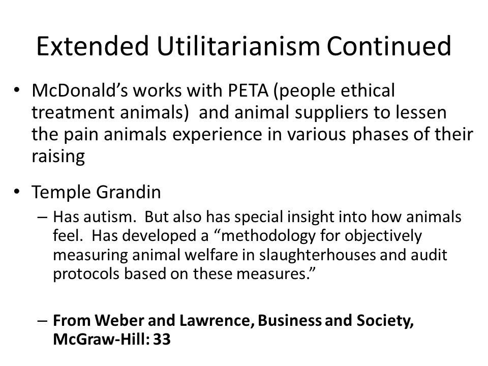 Extended Utilitarianism Continued