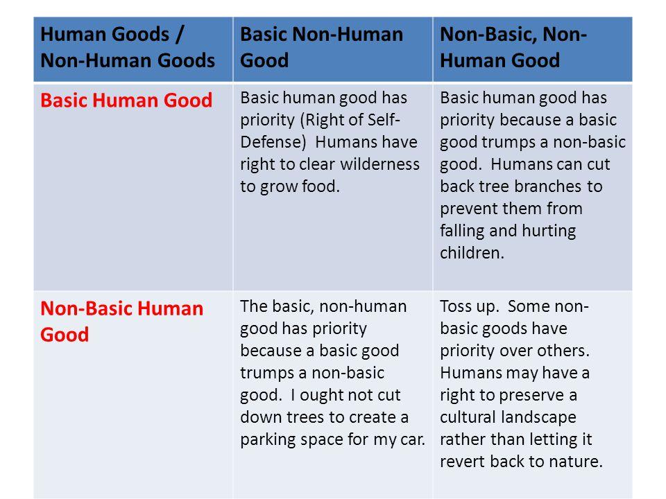 Human Goods / Non-Human Goods Basic Non-Human Good