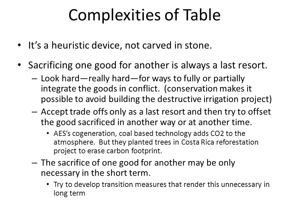 Complexities of Table It's a heuristic device, not carved in stone.