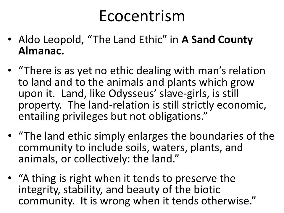 Ecocentrism Aldo Leopold, The Land Ethic in A Sand County Almanac.