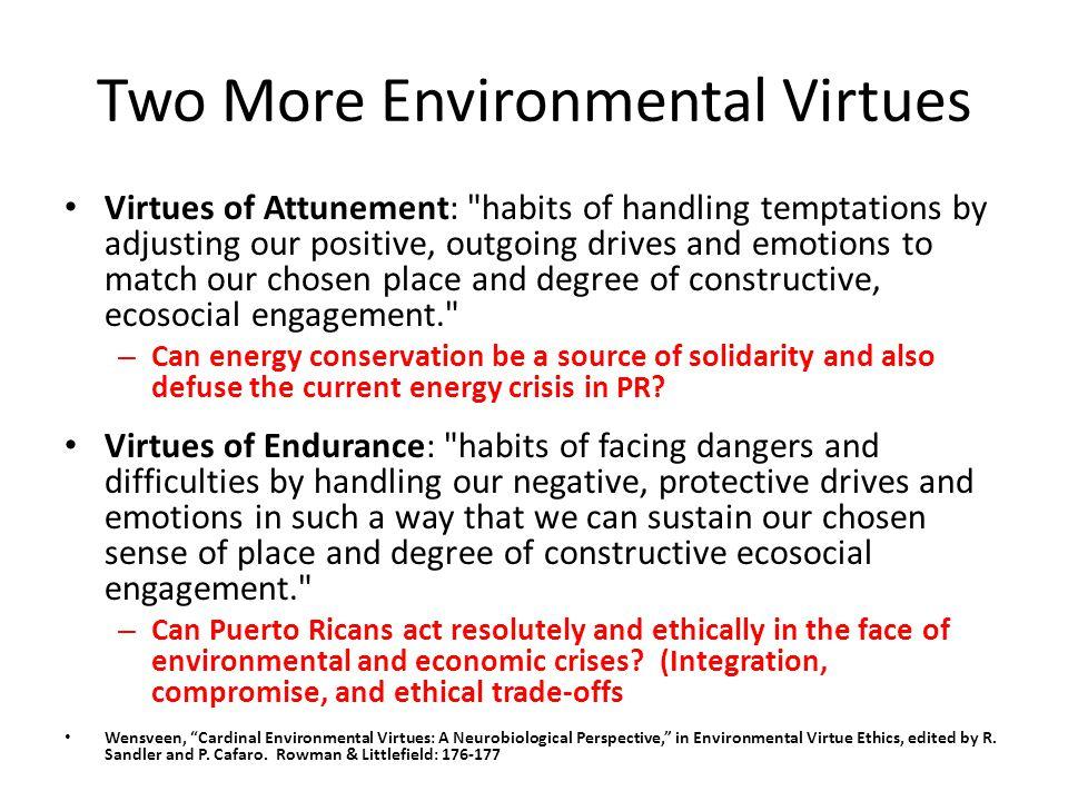 Two More Environmental Virtues