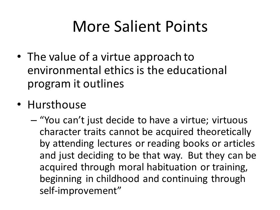 More Salient Points The value of a virtue approach to environmental ethics is the educational program it outlines.