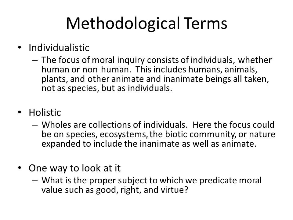Methodological Terms Individualistic Holistic One way to look at it