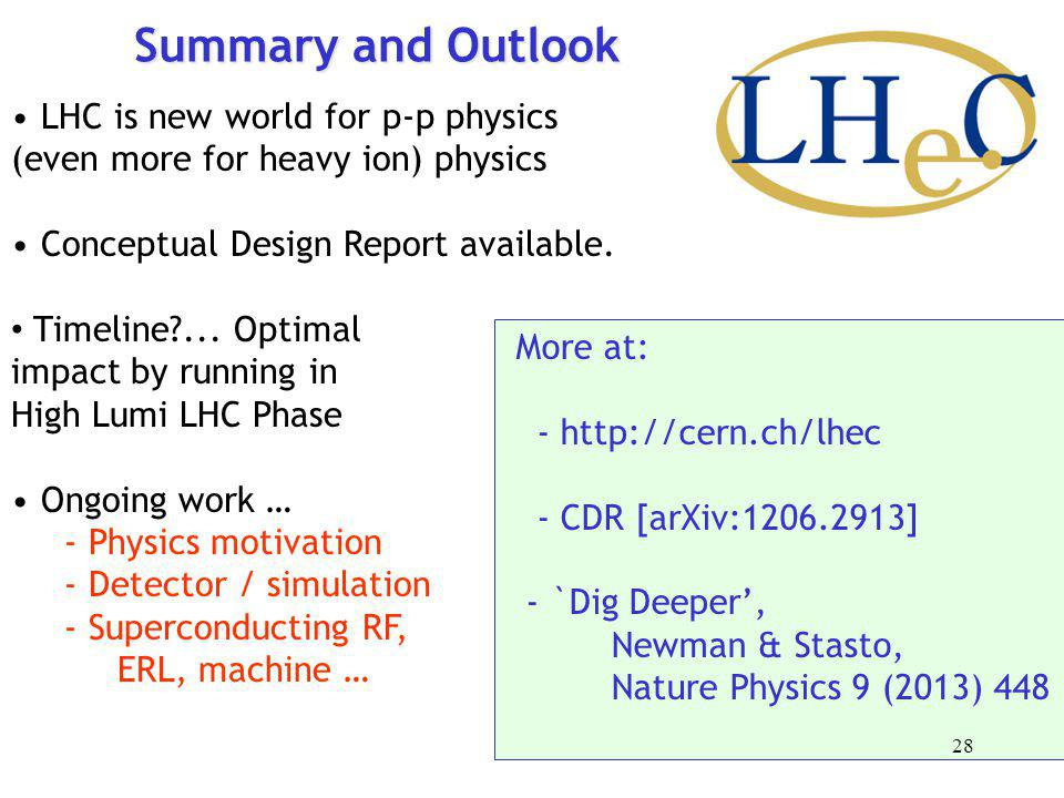 Summary and Outlook LHC is new world for p-p physics