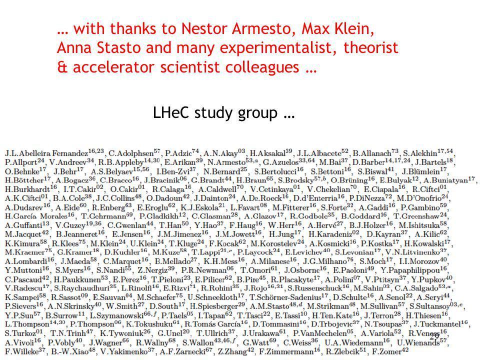 … with thanks to Nestor Armesto, Max Klein,