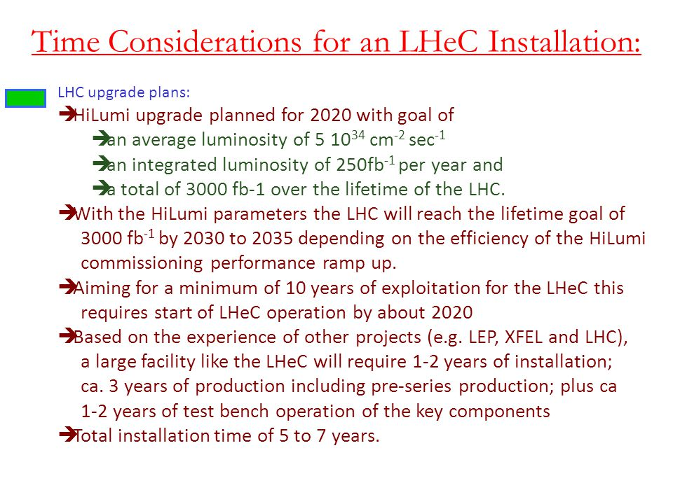 Time Considerations for an LHeC Installation: